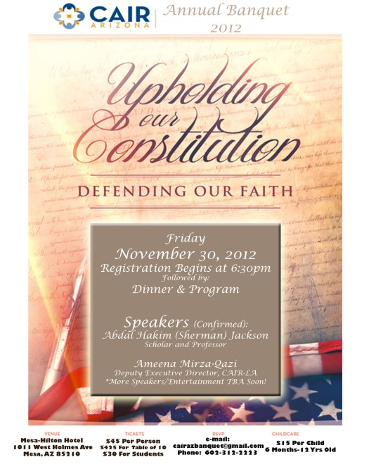 We Cordially Invite You To Attend CAIR-AZ's 2012 Banquet!